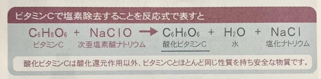 ビタミンCで塩素除去(反応式)